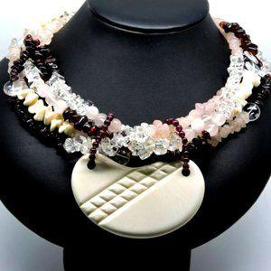 Garbo Creations Necklace Quartz Garnet Strands